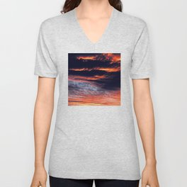 Sunset After Dangerous Tropical Cyclone in Palau Islands Unisex V-Neck