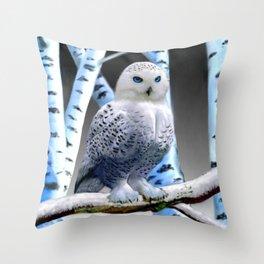 Blue-eyed Snow Owl Throw Pillow