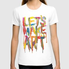 LET'S MAKE ART White Womens Fitted Tee X-LARGE