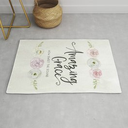 Amazing Grace Art Poster with Watercolor Florals Rug