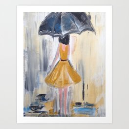 Beautiful Lady in Yellow in the Rain on Canvas Art Print