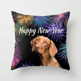 Brown Weimaraner Dog - Happy New Year Fireworks Throw Pillow
