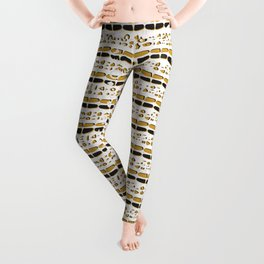 Yellow and White Abstract Drawn Cryptic Symbols Leggings