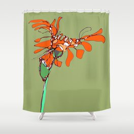Autumn Olive Gerbera Shower Curtain