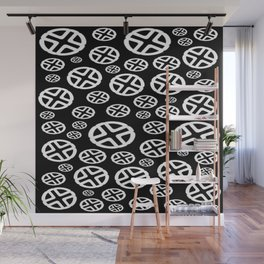 Scattered Circles - Black and White Pattern of Circles and Crosses Wall Mural