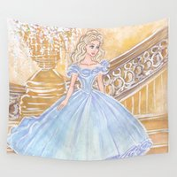 cinderella Wall Tapestries featuring Cinderella by carotoki art and love