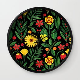 Black yellow orange green watercolor tulips daisies pattern Wall Clock