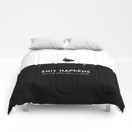 Shit Happens (Black White) Comforters