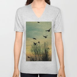 Crows Fly Through The Colors Of Dusk Unisex V-Neck