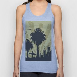 Sunny beach with palm surfer in Hawaii Unisex Tank Top