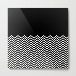 Black Solid and Chevron Metal Print