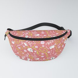 Skeletons in Spring - sunglo red - white Fanny Pack