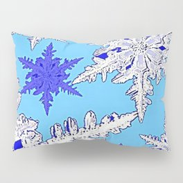 BEAUTIFUL BLUE & WHITE SNOW CRYSTALS  DESIGN Pillow Sham