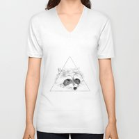 racoon V-neck T-shirts featuring Racoon by Girard Camille