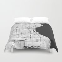 milwaukee Duvet Covers featuring Milwaukee Map Gray by City Art Posters