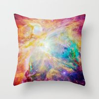 nebula Throw Pillows featuring nEBula : Colorful Orion Nebula by 2sweet4words Designs