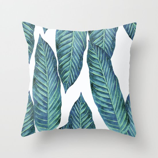 Blue Banana Leaves #society6 Throw Pillow by Wheimay Society6