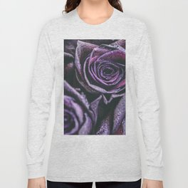Macro photography of purple roses with raindrops. Long Sleeve T-shirt