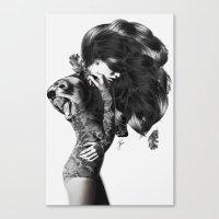 bear Canvas Prints featuring Bear #2 by Jenny Liz Rome