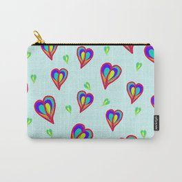 Rainbow Hearts: a fresh, colorful pattern of hearts floating on air, on a pale turquoise background Carry-All Pouch