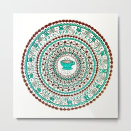 Cafe Expresso Teal, Brown, and White Mandala Metal Print
