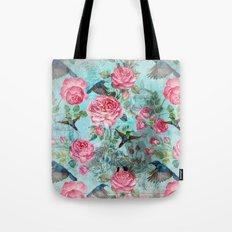 Vintage Watercolor hummingbird and English Roses on aqua Background Tote Bag