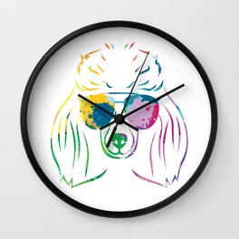 Colorful Funky Poodle Wall Clock