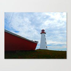 Boat and Lighthouse in Point Prim PEI Canvas Print