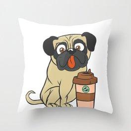 coffeePug Throw Pillow