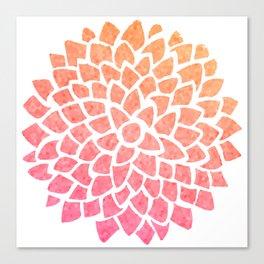 Coral Sea Glass Dahlia Canvas Print