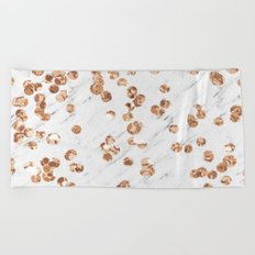 Rose gold crystals - white marble Beach Towel
