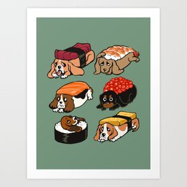 Sushi  Basset Hound Art Print