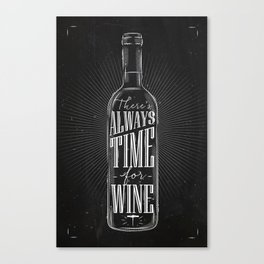 Always time for wine chalk Canvas Print