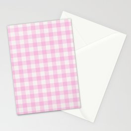 Blush pink white gingham 80s classic picnic pattern Stationery Cards