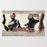 robocop Area & Throw Rugs featuring Robocop Girl - Desafío52 by Marcos Raya Delgado