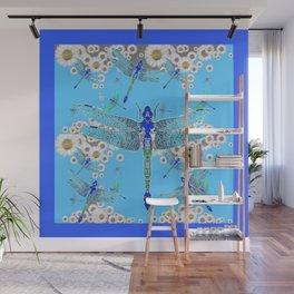 BLUE DRAGONFLIES LILAC WHITE DAISY FLOWERS  ART Wall Mural