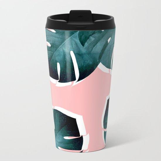 Monstera Leaves on Pink Metal Travel Mug