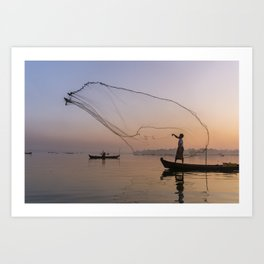 Fisherman   Sunrise U-bein Bridge Mandalay   Myanmar Travel Photography Art Print