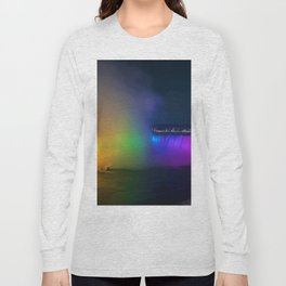Rainbow Niagara Falls Waterfall (Color) Long Sleeve T-shirt