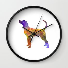 English Foxhound in watercolor Wall Clock