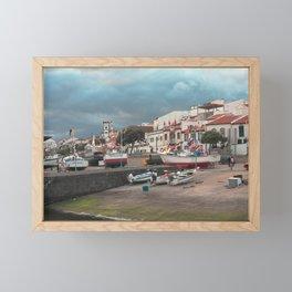 Portuguese harbour Framed Mini Art Print
