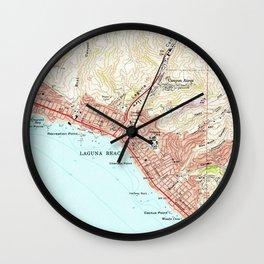 Vintage Map of Laguna Beach California (1965) Wall Clock
