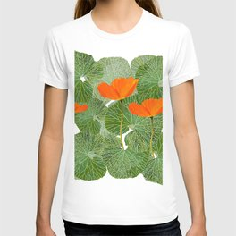 Orange Poppy Flowers Green Large Leaf #decor #society6 #buyart T-shirt