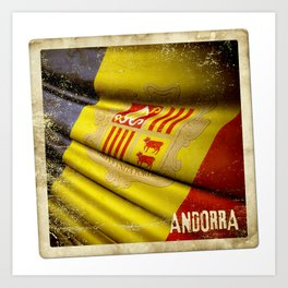 Grunge sticker of Andorra flag Art Print
