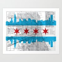 chicago map Art Prints featuring Chicago Map  by Kasi Turpin