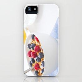 Healthy breakfast with muesli, fresh fruit, orange juice and coffee iPhone Case