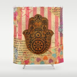 Hearts and Butterfly Hamsa Shower Curtain