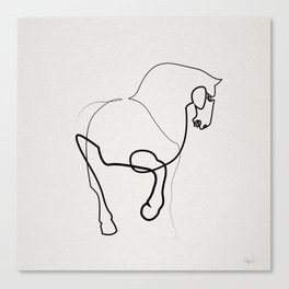 One line horse 0905 after a Tang Dynasty Tomb Pottery Canvas Print