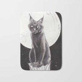 Black Cat and the Moon Bath Mat