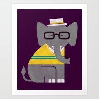 preppy Art Prints featuring Rodney the preppy elephant by Picomodi